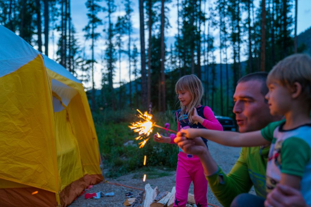 kids playing with fireworks